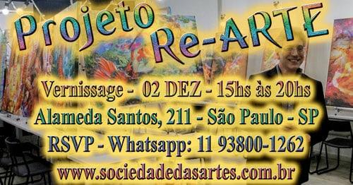 Vernissage dia 02/12, das 15 às 20hs, na Sociedade Das Artes Alameda Santos, 211 - São Paulo - SP RSVP: Whatsapp: +55 11 93800-1262